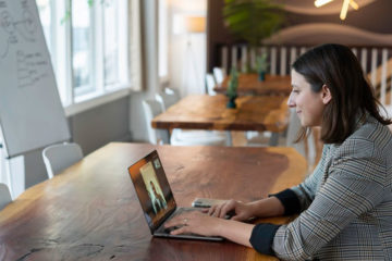 Salesperson-video-calling-from-a-laptop